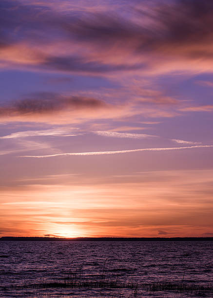 Strange pink sunset in Sweden stock photo