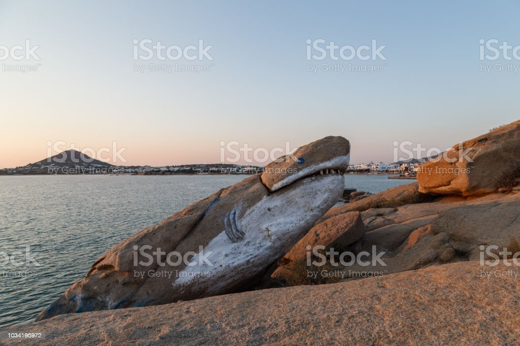 Strange rock at Naxos Island stock photo