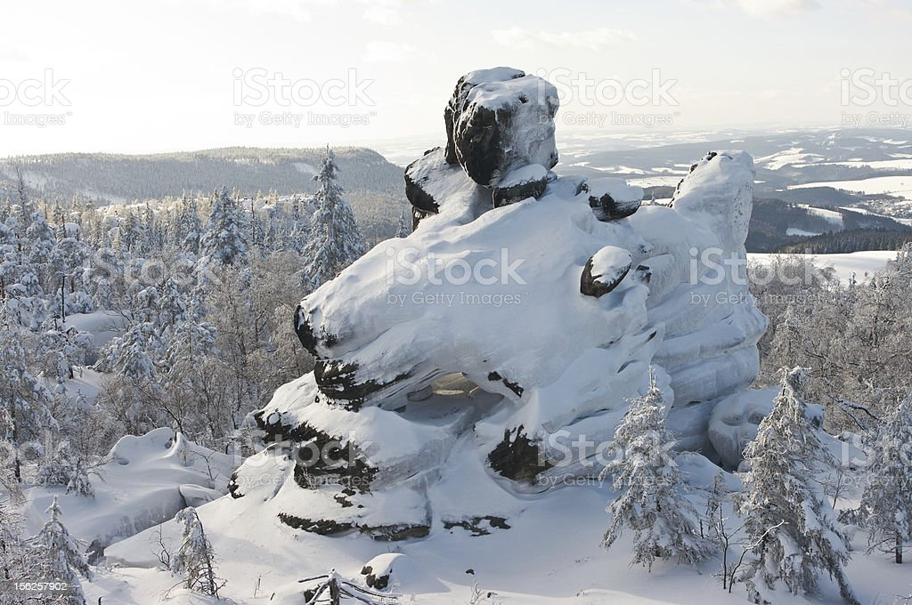 Strange rock during the winter royalty-free stock photo