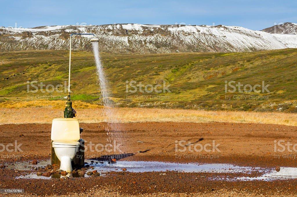 strange rural outdoor shower stock photo