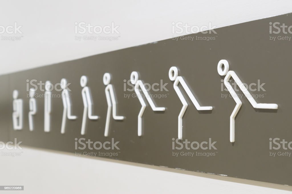 Strange sign on the wall to restroom/toilet royalty-free stock photo