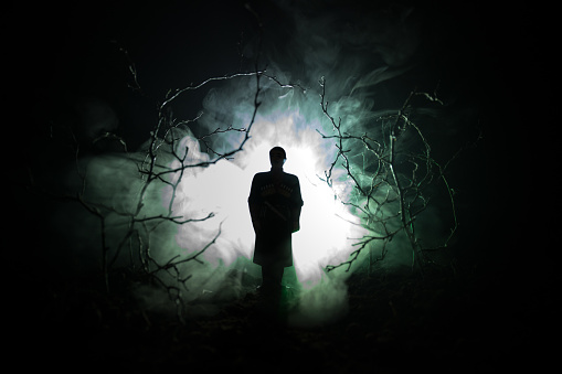 strange silhouette in a dark spooky forest at night, mystical landscape surreal lights with creepy man. Toned