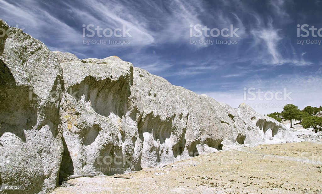 Strange stones and trees stock photo
