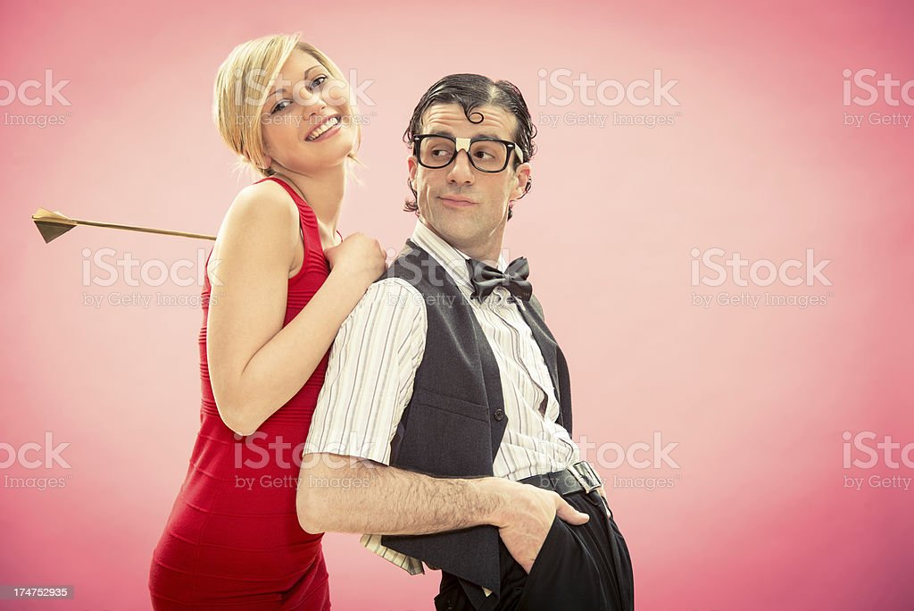 Strange young couple in love on valentine stock photo