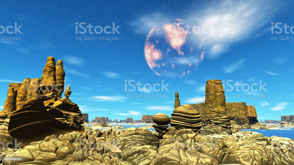 Stranger planet. Rocks and Desert. 3D rendering royalty-free stock photo