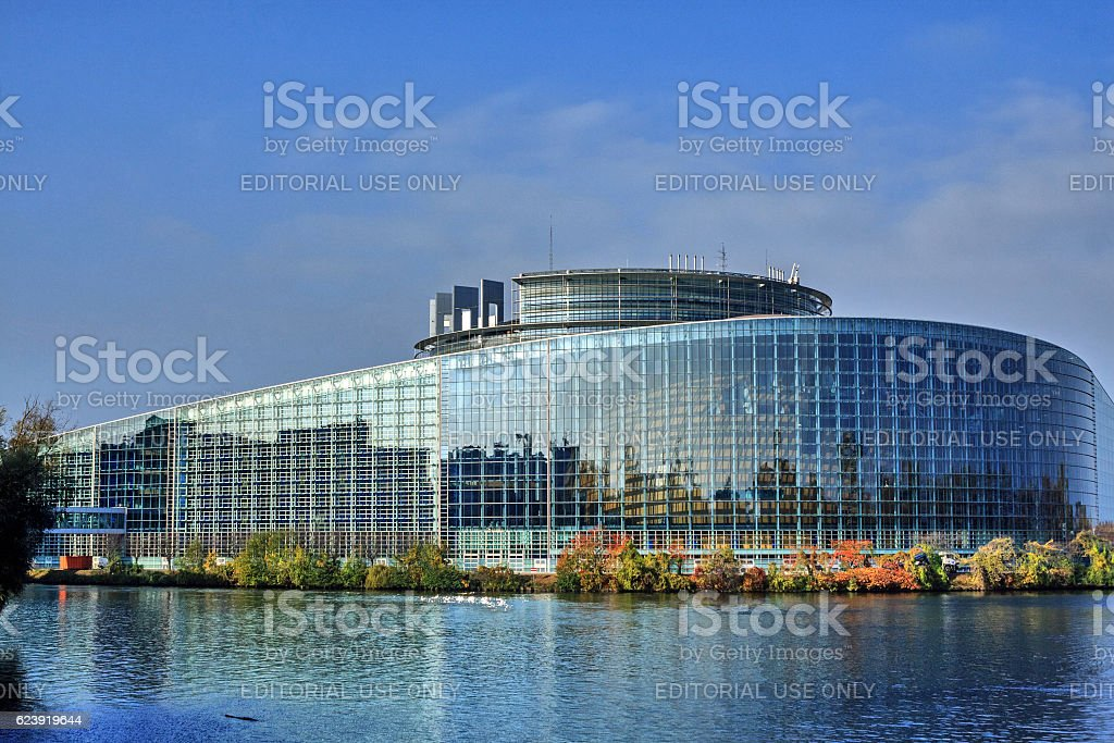 Strasbourg, Alsace: Building of the European Parliament (Louise Weiss Building) stock photo