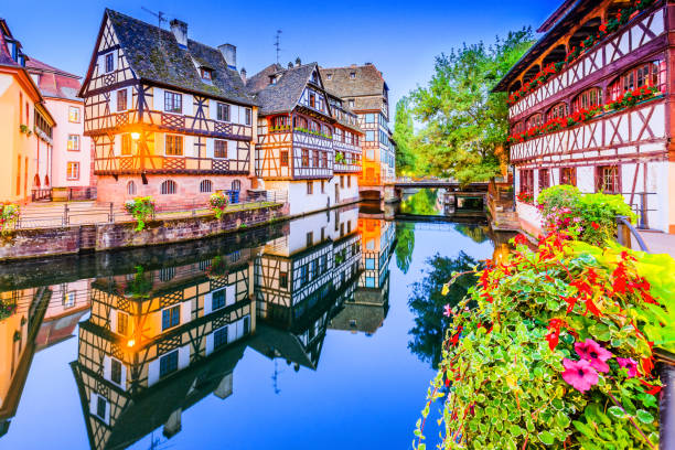 Strasbourg, Alsace, France. Strasbourg, Alsace, France. Traditional half timbered houses of Petite France. strasbourg stock pictures, royalty-free photos & images