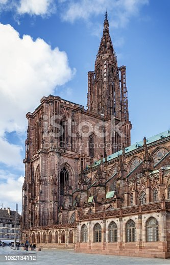 Strasbourg Cathedral also known as Strasbourg Minster, is a Gothic Roman Catholic cathedral in Strasbourg, Alsace, France. View from the south
