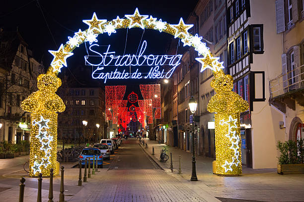 Strasbourg December 2015. Entrance to the city centre of Strasbo stock photo
