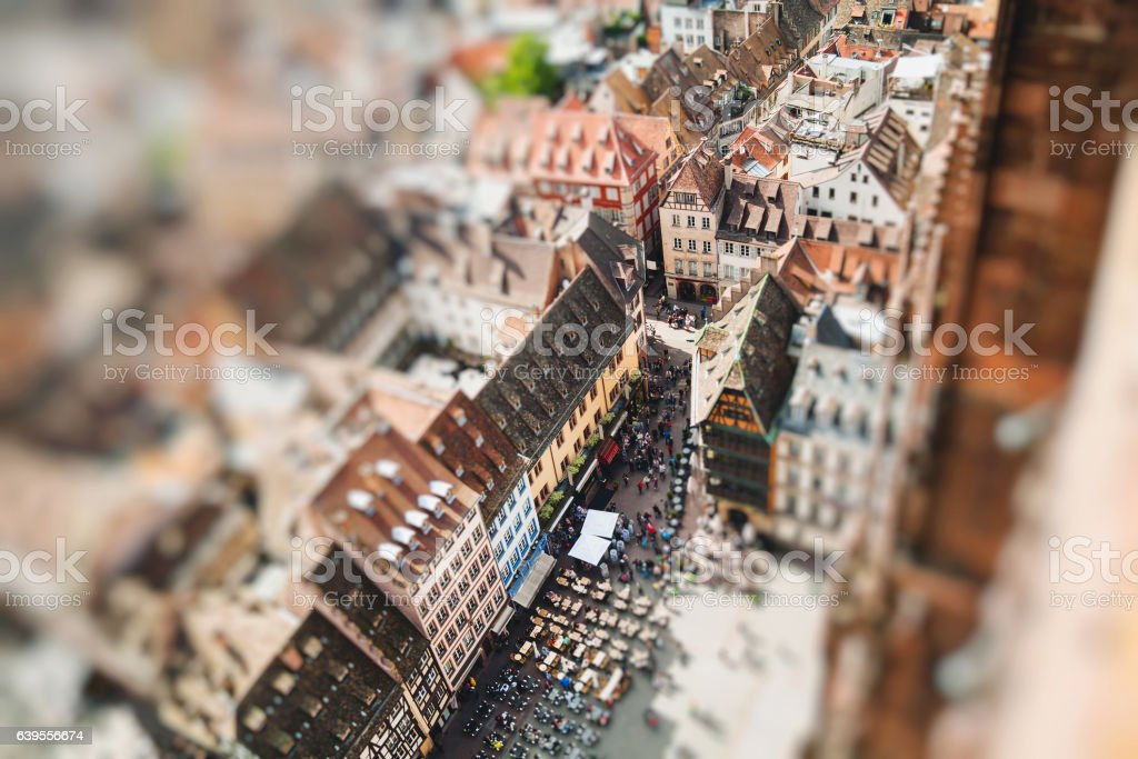 Strasbourg houses. View from the top of the cathedral stock photo