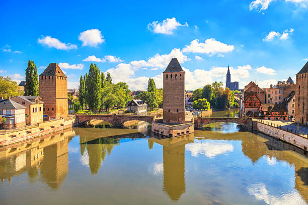 Strasbourg, medieval bridge Ponts Couverts and Cathedral. Alsace Strasbourg, medieval bridge Ponts Couverts and Cathedral, view from Barrage Vauban. Alsace, France. strasbourg stock pictures, royalty-free photos & images