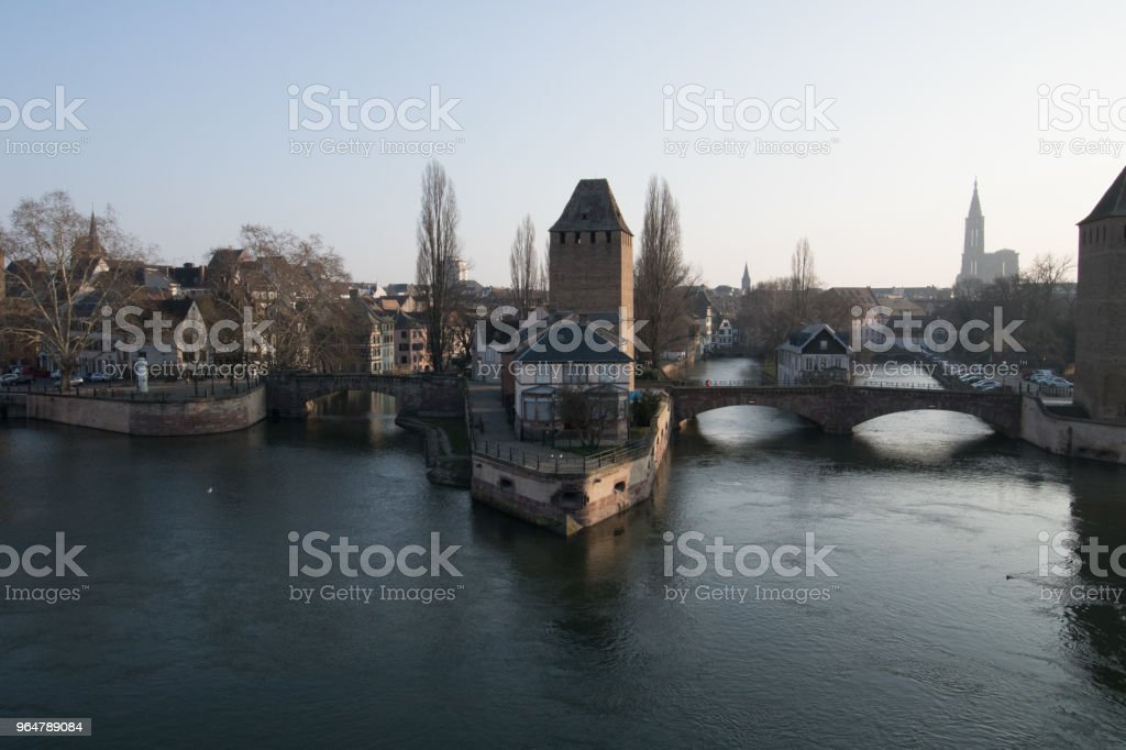 Strasbourg, medieval bridge Ponts Couverts is located in the historic district Petite France . Alsace, France royalty-free stock photo