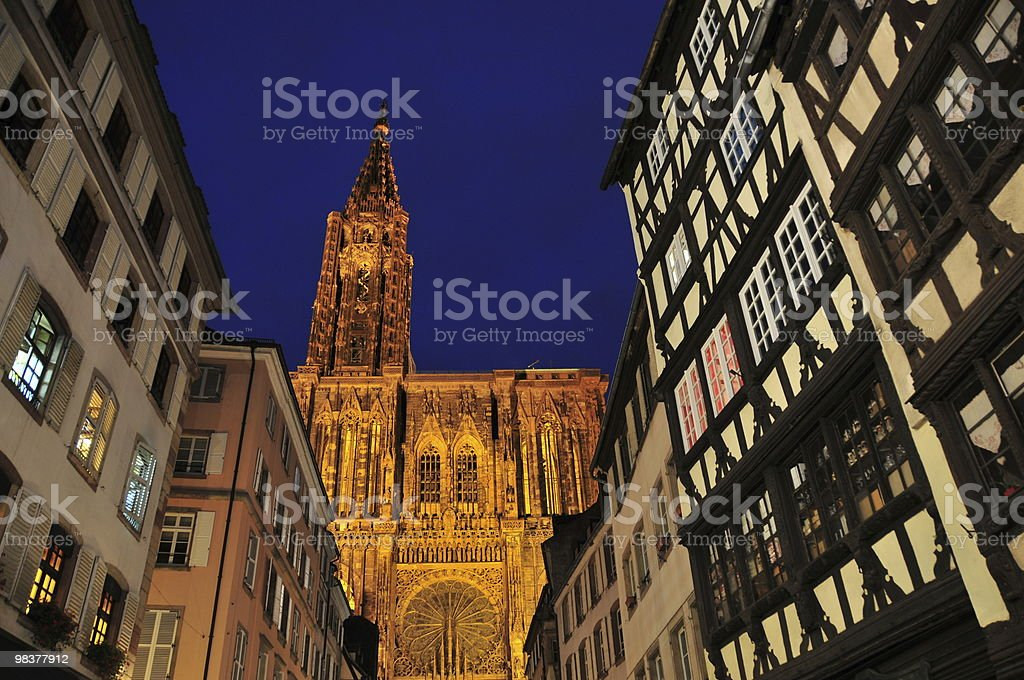 Strasbourg street leading to the Cathedral royalty-free stock photo