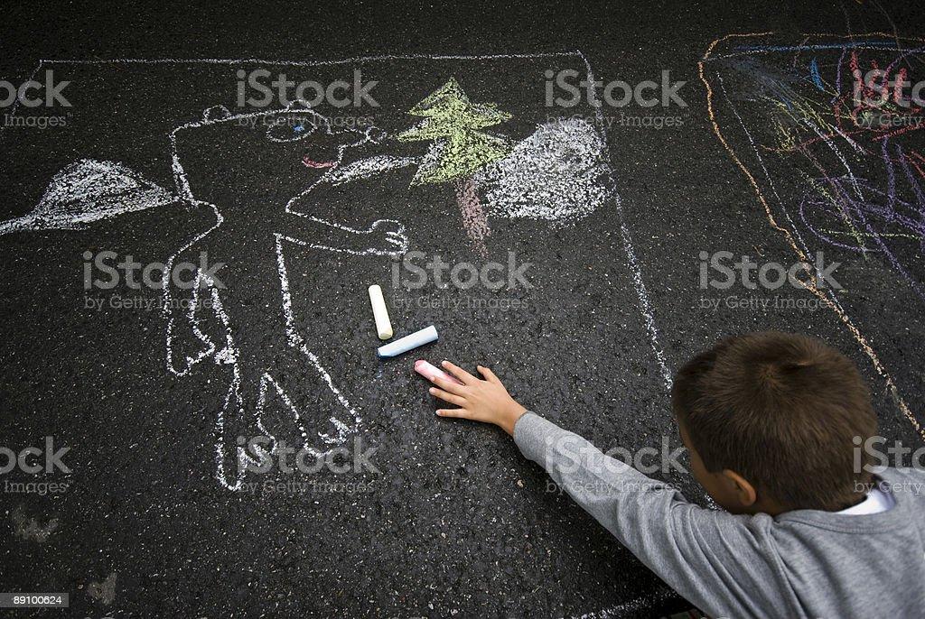 Strassenmaler Greift Nach Farbkreiden Lizenzfreies stock-foto