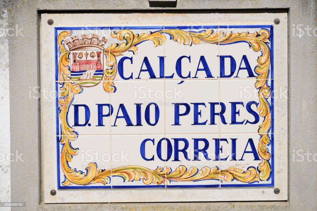 Strassenschilder in Portugal (Faro, Lagos, Sagres, Tavira) royalty-free stock photo