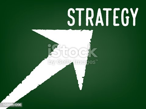 istock Strategy - Arrow with a text on chalk board -  Concept of Business Strategy 1035984996