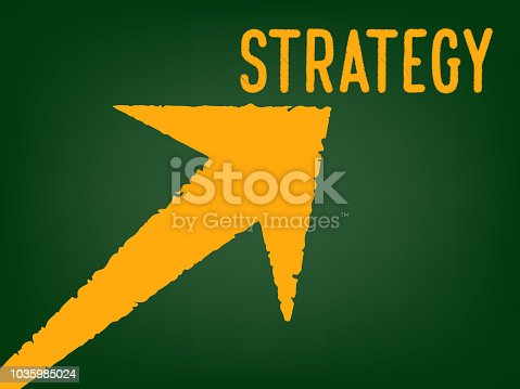 939898780istockphoto Strategy - Arrow with a text on chalk board -  Concept of Business Strategy 1035985024