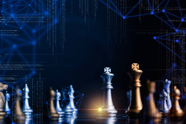 Strategie Wettbewerbsideen Konzept mit Schachbrett Spiel Vintage Farbton – Foto