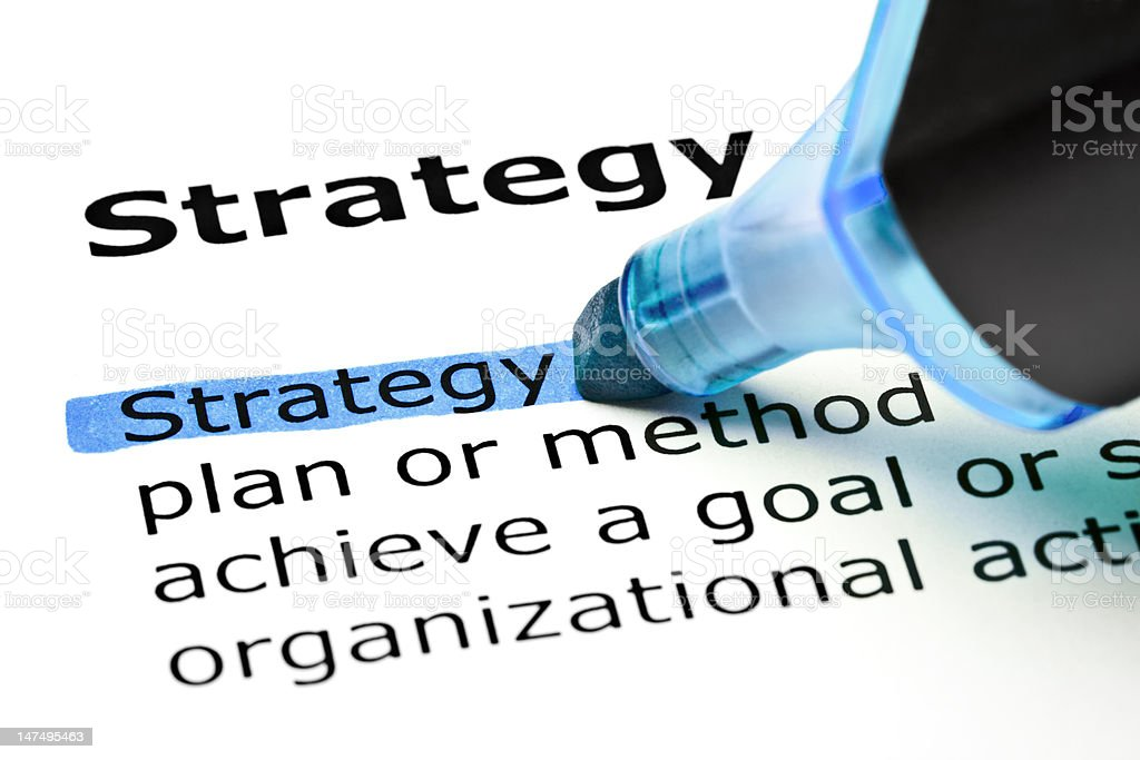 Strategy highlighted in blue royalty-free stock photo