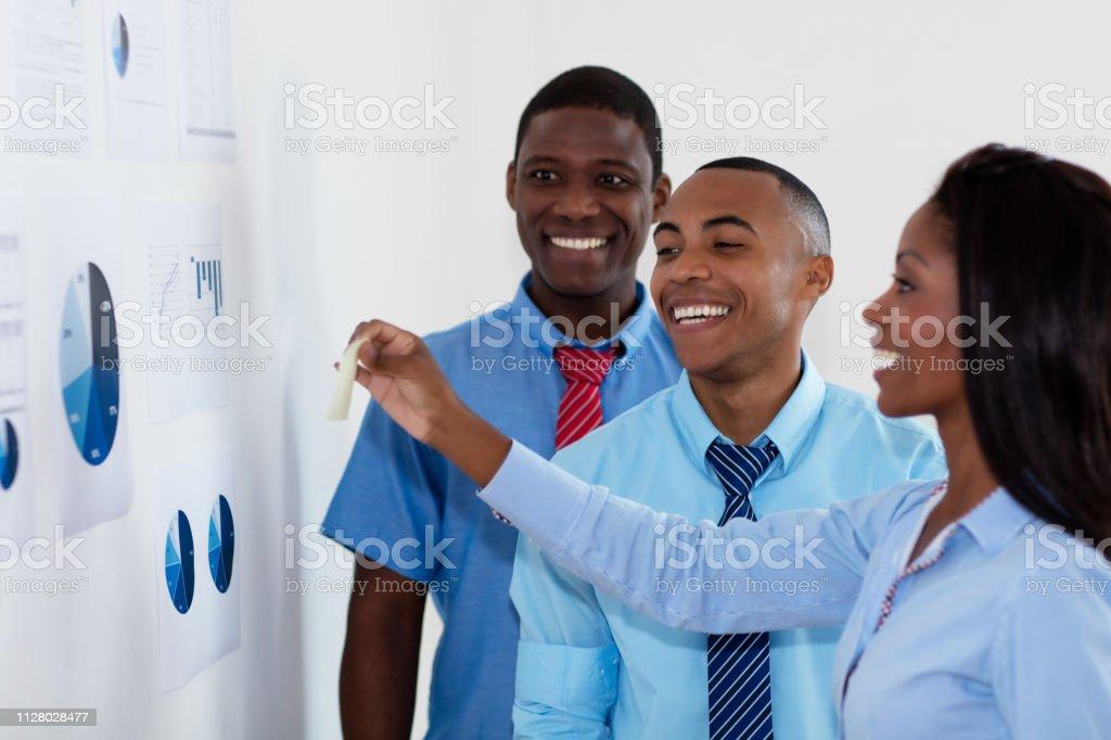 Reunión de estrategia del equipo de negocios afroamericano - foto de stock