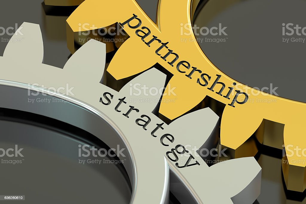 Strategy Partnership concept on the gearwheels, 3D rendering vector art illustration