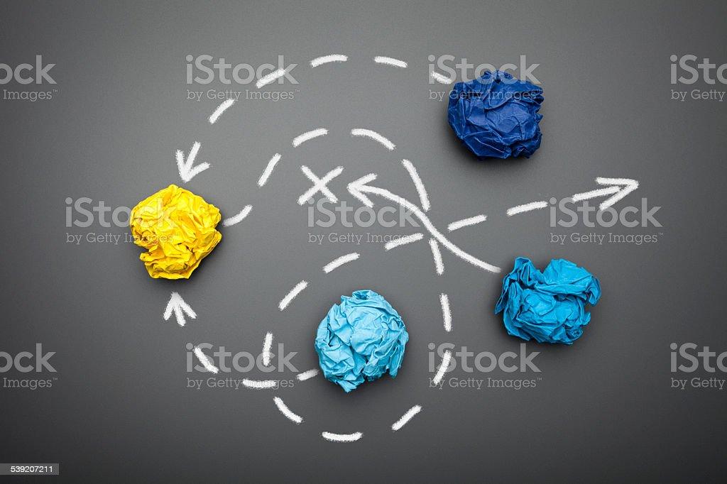Strategy plan on Blackboard - Crumpled Paper Idea Chalk Humor stock photo