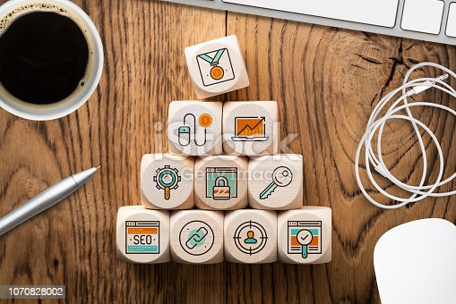 istock SEO strategy with components for successful marketing as icons on cubes 1070828002