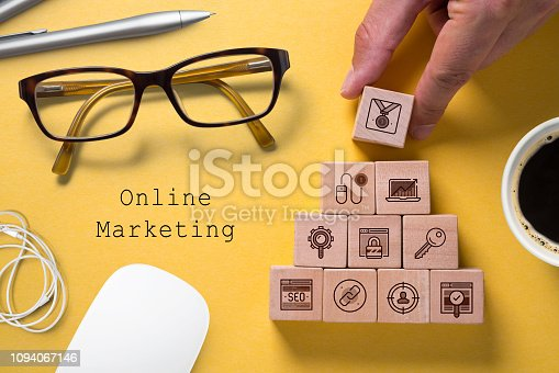 istock SEO strategy with components for successful marketing as icons on cubes 1094067146