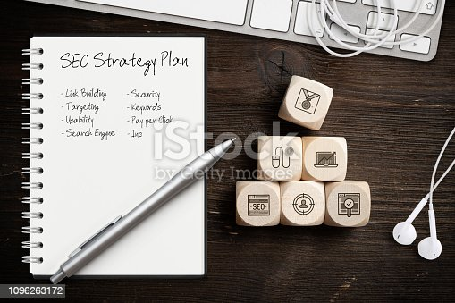 1132786150 istock photo SEO strategy with components for successful marketing as icons on cubes 1096263172