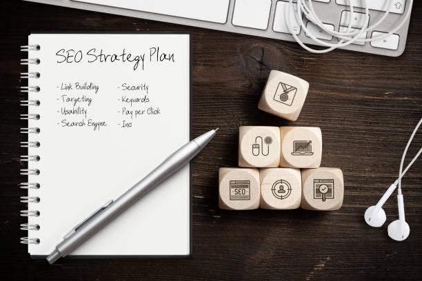 seo-strategie mit komponenten für eine erfolgreiche vermarktung als symbole auf würfel - suchmaschine stock-fotos und bilder