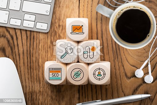 1132786150 istock photo SEO strategy with components for successful marketing as icons on cubes 1098365546