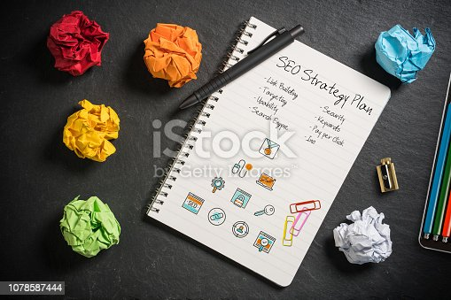 1132786150 istock photo SEO strategy with components for successful marketing on slate background 1078587444