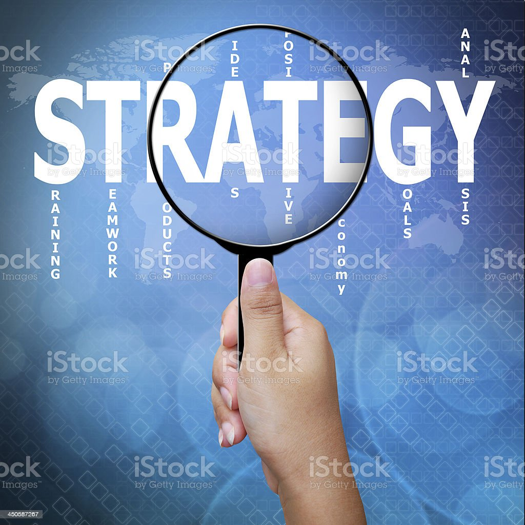 Strategy Word In Magnifying Glass Business Concept Stock Photo