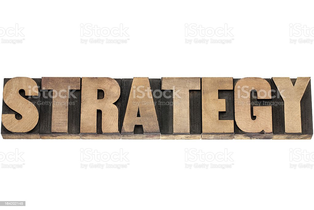 strategy word in wood type royalty-free stock photo