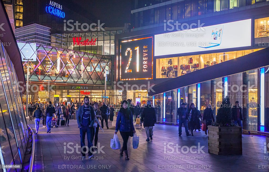 Stratford shopping centre with lots of people, London stock photo