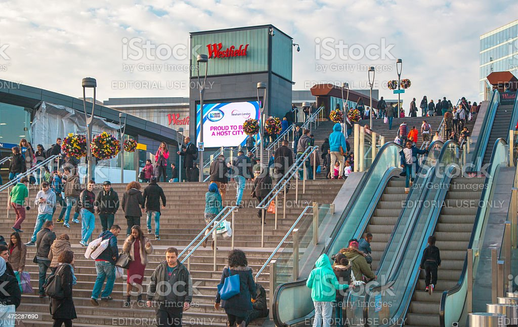 Stratford square with lots of people, London stock photo
