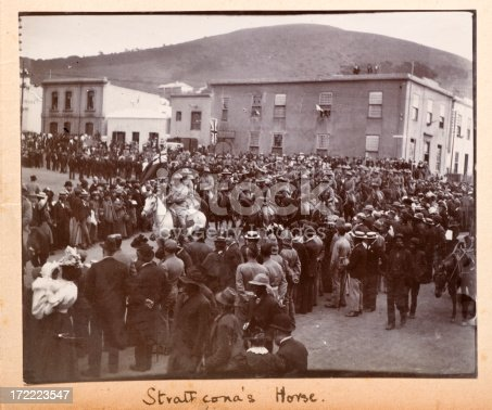 Lord Strathcona's Horse ride through a crowd at the time of the Boer war in South Africa.   Strathcona's Horse was a Canadian cavalry regiment that fought along side other troops from the British empire.