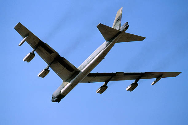"""B52 Stratofortress Strategic Nuclear Bomber """"The Mighty Boeing B52 Bomber,capable of carrying huge bomb loads at high altitudes over great distances"""" bomber plane stock pictures, royalty-free photos & images"""