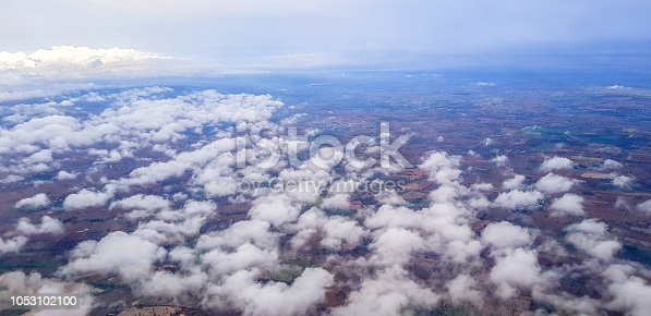 istock Stratus cloud aboce ground view from airplane 1053102100