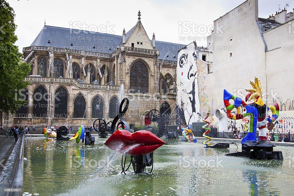 Stravinsky Fountain, Paris. stock photo