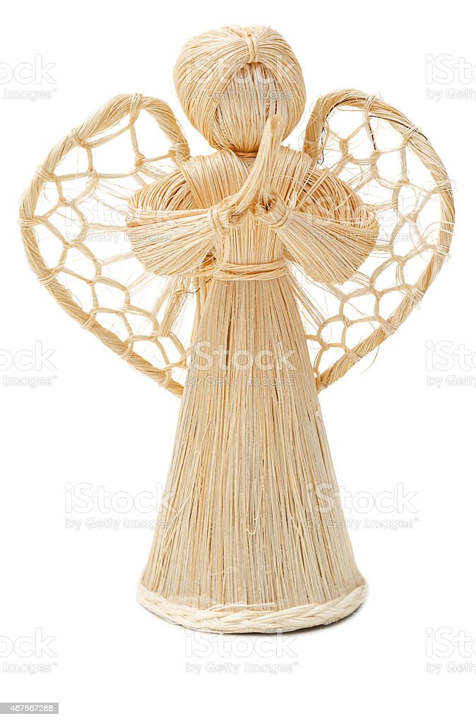 Straw angel stock photo