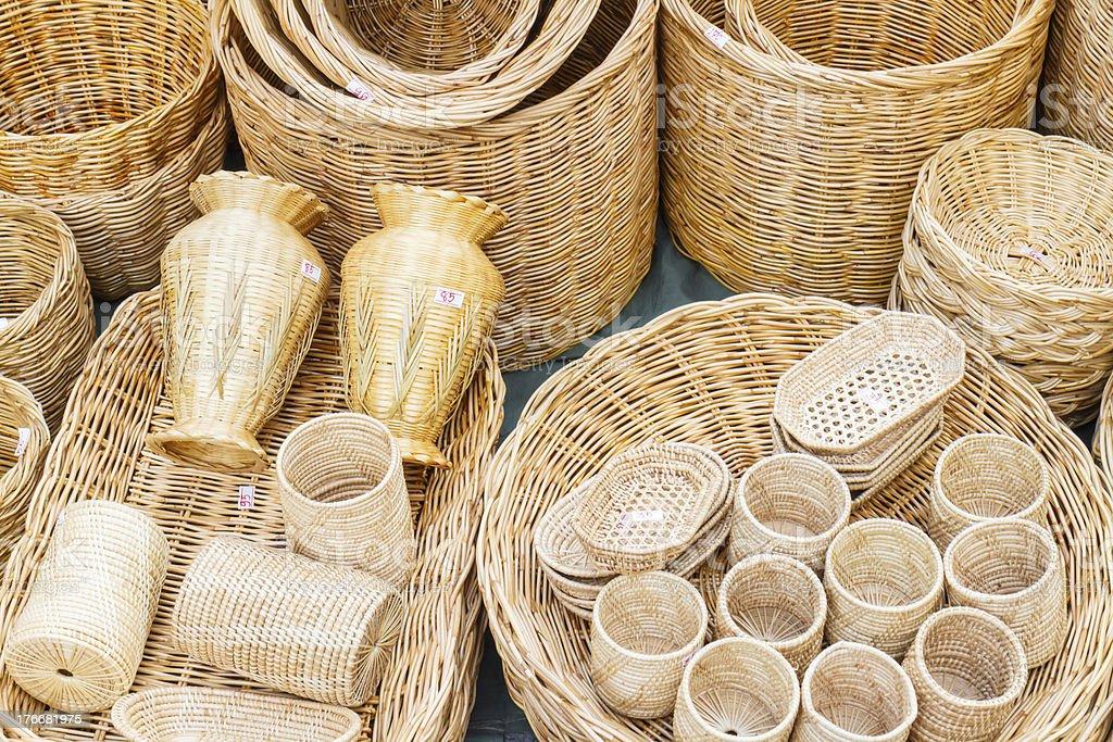 Straw backets on market royalty-free stock photo