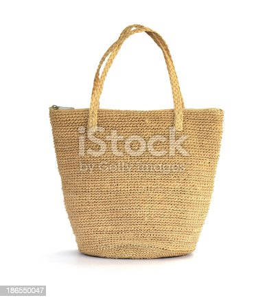 istock Straw bag on a white background 186550047
