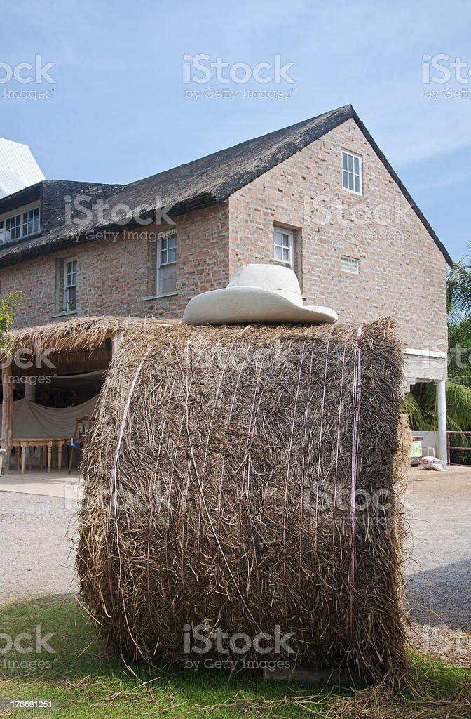 Straw bale and farmhouse in background royalty-free stock photo
