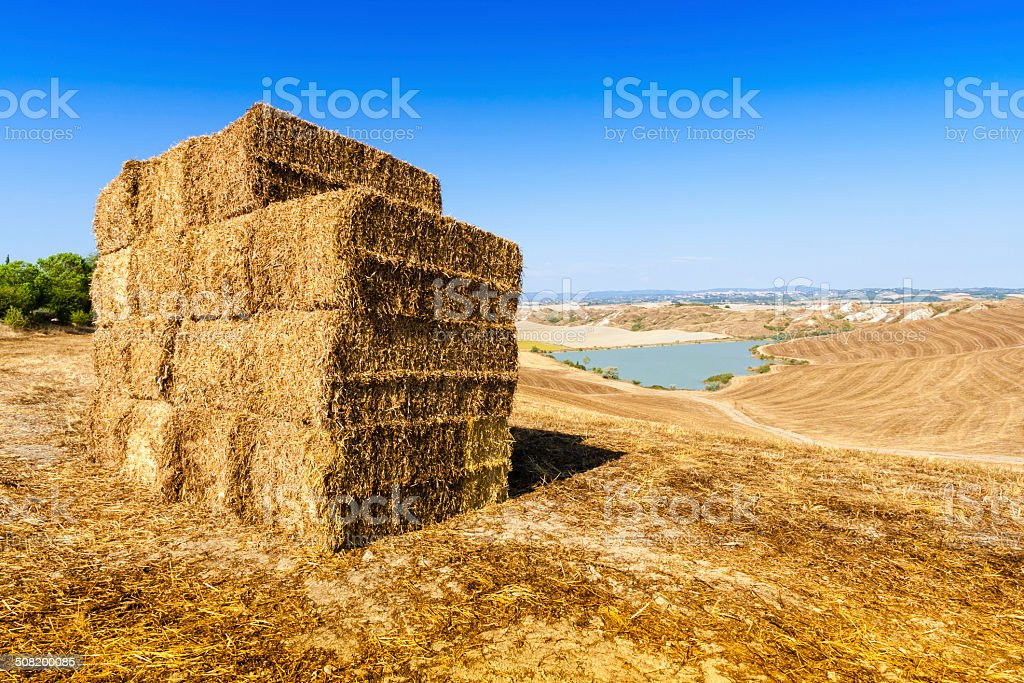 Straw bales and lake near Asciano in Crete Senesi, Tuscany stock photo