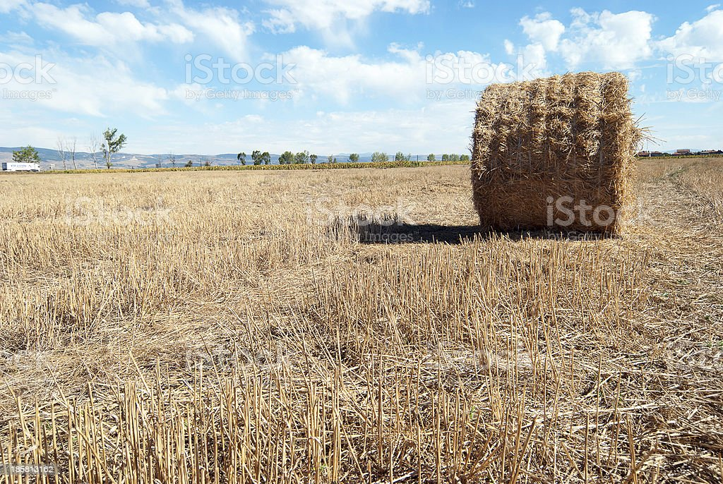 Straw Bales at a Stubbel Field royalty-free stock photo