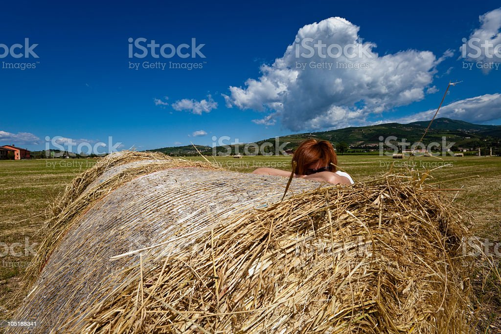 Straw Bales in Valpolcella, Italy royalty-free stock photo