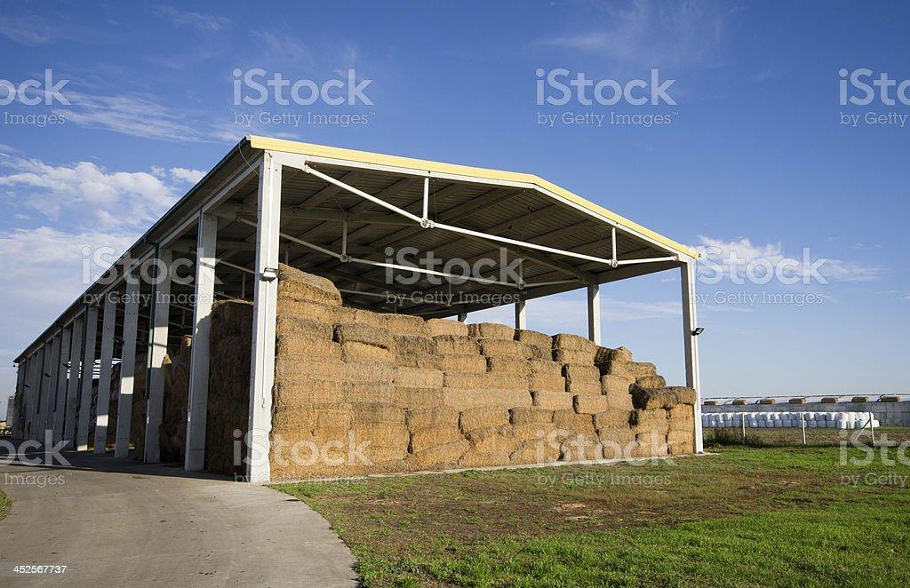Straw bales storage stock photo