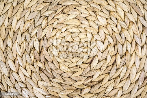 istock Straw bamboo hat texture 614444942