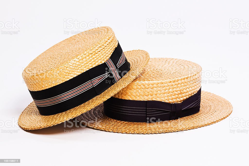 Straw Boater Hats stock photo